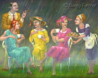 """English Tea Party - art print - """"Tea On The Lawn"""" - quintessentially English, we shall have fun despite the weather. Art by Nancy Farmer"""