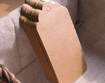 "50pcs Large Brown Kraft Tags,Gift tags, Wedding Favor Tags,3 1/2"" x 1 3/4"""