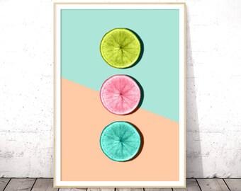Fruit Print, Modern Kitchen Decor, Half Slice, Digital Download, Tropical Fruit, Printable Poster, Dining Room Wall Art, Orange Fruit
