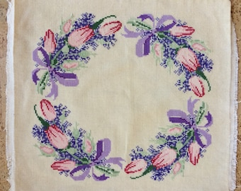 Cross Stitched Wreath of Tulips Pillow Top