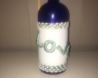Hand Wrapped Blue Wine Bottle