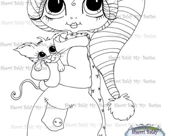 INSTANT DOWNLOAD Digi Stamps Big Eye Big Head Dolls Digi IMG968 By Sherri Baldy