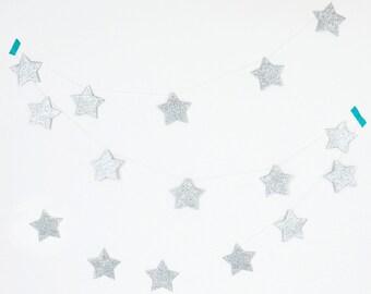 Glitter silver star garland
