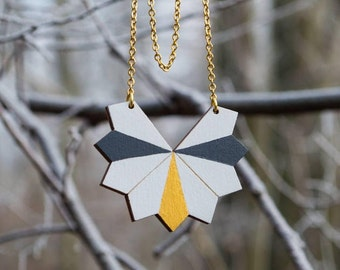 Wooden geometric white and gold necklace, wood simple pendant, minimal necklace, long, chain