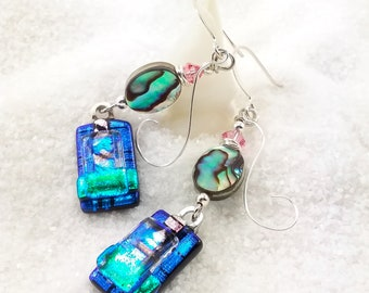 Abalone Shell jewelry, Fused glass earrings, dichroic glass jewelry, dichroic earrings, fused glass, glass earrings, blue earrings, glass