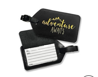 Adventure Awaits Leather Luggage Tag Gold Foil Design - Fits Standard Business Cards,  Genuine Leather  with Strap Included - Single Tag
