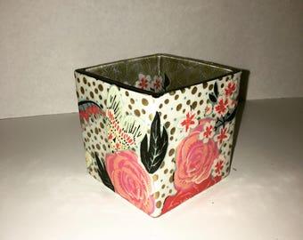 Floral square vase