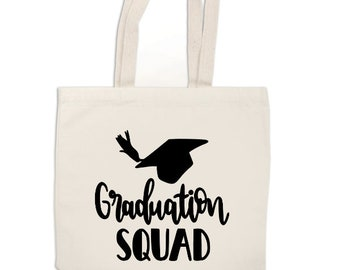 Graduation Squad Senior Class 2018 Grad Gift Canvas Tote Bag Market Pouch Grocery Reusable Recycle Go Green Eco Friendly Jenuine Crafts