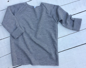 Grey Sweatshirt; Raw Edge Sweatshirt; Baby Sweatshirt; Toddler Sweatshirt, Modern Baby Sweater, Gift Idea