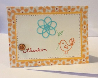Thank You Card - Handmade card - Thanks - Bird - Yellow