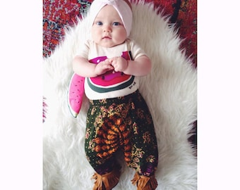 3-6 Months, Block printed cotton baby harem pants, hippie baby, bohemian baby shower gift  boho baby pant, floral aztec baby, gypsy pant,