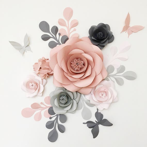 Royal paper flower set in light grey dusty rose and grey like this item mightylinksfo Gallery