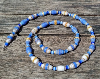 Handmade necklace with blue - beige - brown recycled paper and blue cateye beads