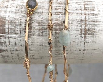 Set Of Three Gold Filled Bangles With Aquamarine, Labradorite And Pyrite
