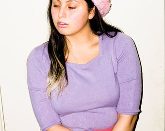 Lovely Lilac Periwinkle Pastel Gloria Vanderbilt Square Neck Knit Pullover Sweater