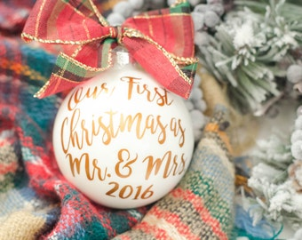 Our First Christmas ornament, Christmas ornament, Newlywed gift, Holiday, Christmas tree ornament, Christmas Married, Unique holiday