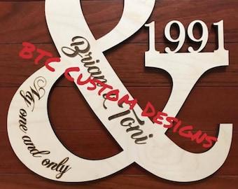 Wood Ampersand, Wooden Ampersand, My one and only, Personalized Door Monogram, Wooden Door Monogram, Wood Door Monogram, Wedding Ampersand,