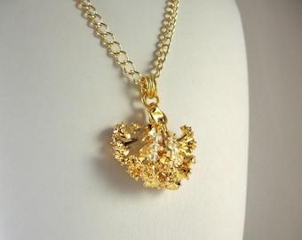 Gold Preserved Kale Leaf Necklace