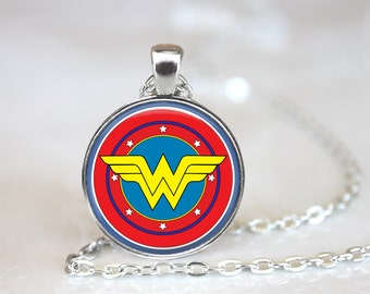 Wonder Woman Logo Symbol Glass Pendant, Photo Glass Necklace, Glass Keychain