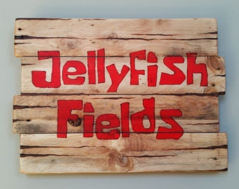 Spongebob Squarepants Jellyfish Fields Reclaimed Wood Sign, Rustic Kids Decor, Kids Room Pictures, Pallet Wood Sign