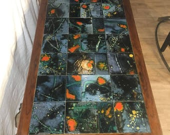 Rosewood & Funky Ceramic Tile Inlaid Coffee Table