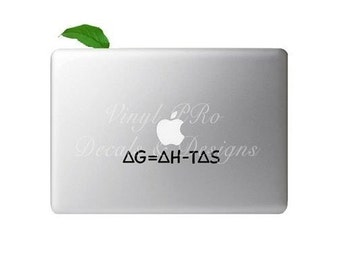 Gibbs Energy Decal Macbook Thermodynamics Equation Physics Law Math Sticker