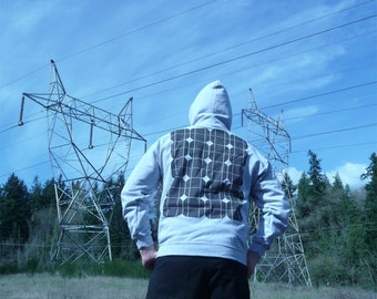 Solar Power Hoodie - Solar Panel Print - Geek - Alternative Energy - M and 2XL Only