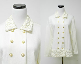 """Leslie Fay . 80s 90s off white double breasted cardigan . size 12P . 38"""" bust . made in USA"""