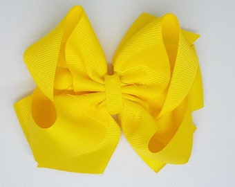 Hair Bow - Yellow - Stacked Boutique Bow - Easter