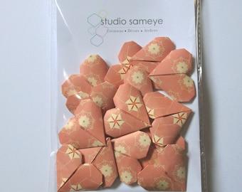 Cake topper pink petal heart origami