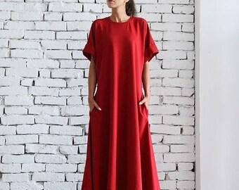 SALE Red Maxi Dress/Oversize Kaftan/Plus Size Maxi Dress/Red Oversize Tunic/Long Evening Dress/Short Sleeve Casual Dress/Loose Red Dress