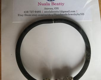 Rubber Bracelet with Crystal Beads