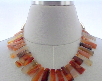 Carnelian Bead Necklace Gold Necklace Fringe Jewelry Gemstone Modern Jewelry Statement Jewellery Bold Organic Carnelian Earthy