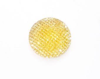 Shine flat 24mm yellow gold resin cabochon