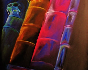 Pastel drawing of Steel Stacks