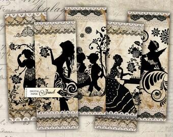 Antique Bookmarks - set of 6 bookmarks - digital collage - Printable Download