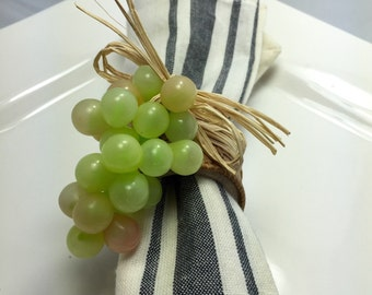 Napkin Ring:  Chardonnay Grapes with cork ribbon and raffia - housewarming -Dinner Party