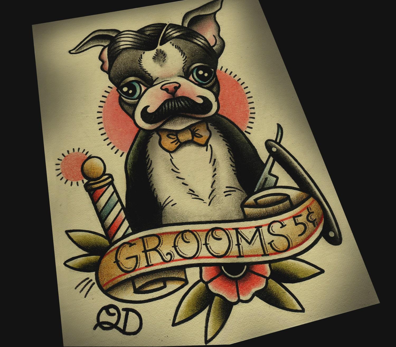 8x10 tattoo print boston terrier barber for Boston barber tattoo