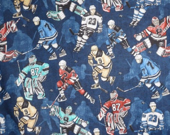 Action Ice Hockey Players on Dark Blue Print Pure Cotton Fabric--By the Yard