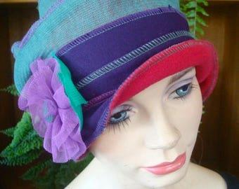 Womens Hat chemo winter soft hat flapper cloche gypsy hat Headcover Flapper Purple winter