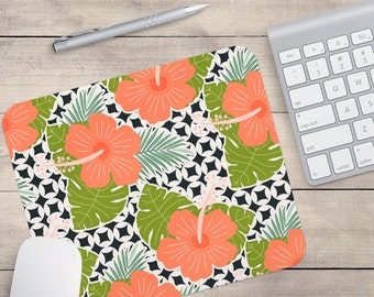Hibiscus Mouse Pad, Flower Mouse Pad, Pattern Mouse Pad, Hibiscus Coaster, Floral Coaster, Tropical Coaster, Tropical Mouse Pad (0035)
