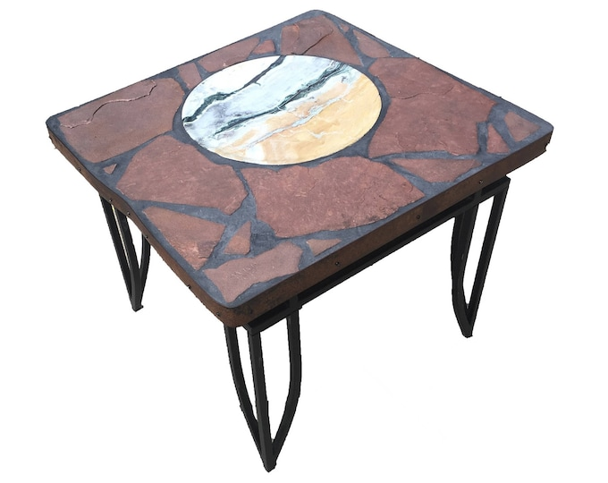 """Peacock A stone topped folk art accent table 28"""" x 26.5"""" x 23"""" tall"""