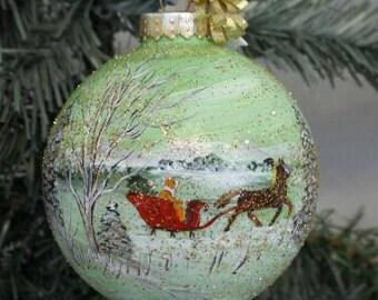 Painted Glass Christmas Ornament, Christmas Ornament, Winter Scene Ornament, Hand Painted Winter Scene Ornament, Christmas, Painted Ornament