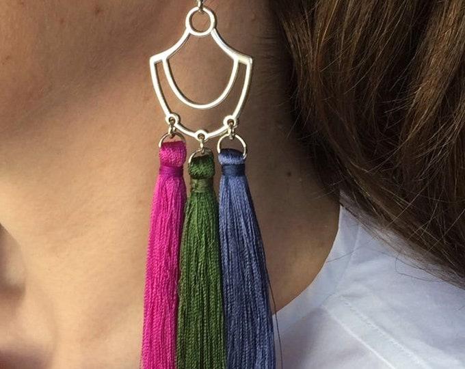 Tassel earrings, Silver tassel drop earrings with pink, green and bleu tassels