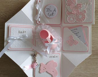 New Baby Scrapbook style Exploding Box Card - Baby Boy/Baby Girl