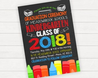 Kindergarten Graduation Invitation, Kindergarten Graduation Announcement, Kids Graduation, Child's Graduation, Pre-school Graduation,