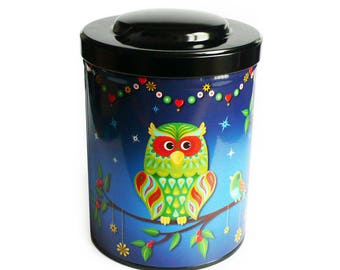 """Blue mixed gift box """"OWL"""" coffee or tea, kitchen storage"""