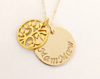 Personalized Gold Filled Family Tree Necklace - Hand Stamped Mommy, Grandmother, Nana Custom Jewelry - Name Disc with Filigree Tree Charm