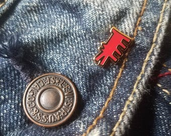 MINI Keith Haring Barking Dog Red Gold Pin Brooch