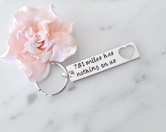 """Long Distance Relationship """"Miles Has Nothing On Us"""" Keychain   Gift for Girlfriend, Boyfriend, or Best Friend   Personalization Available"""